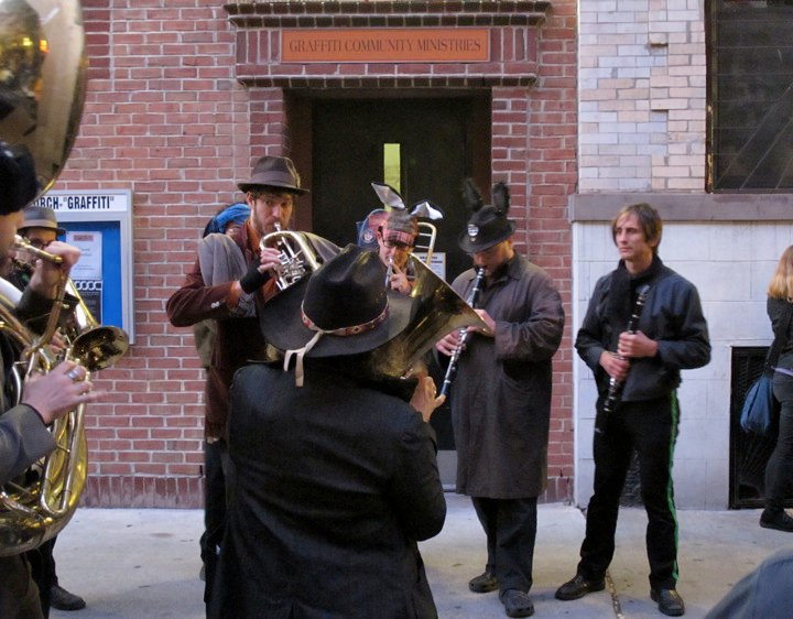 funeral procession music for Michael Shankar, New York City 2010