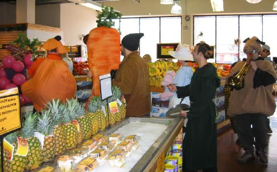 produce costume and farmer parade at People's Market, Evanston , Earth Day celebration 2003