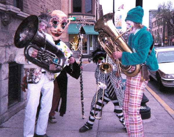 evil clown parade, environmental encroachment marching band