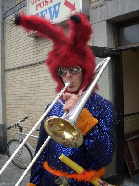 glam trombone rock star bunny music