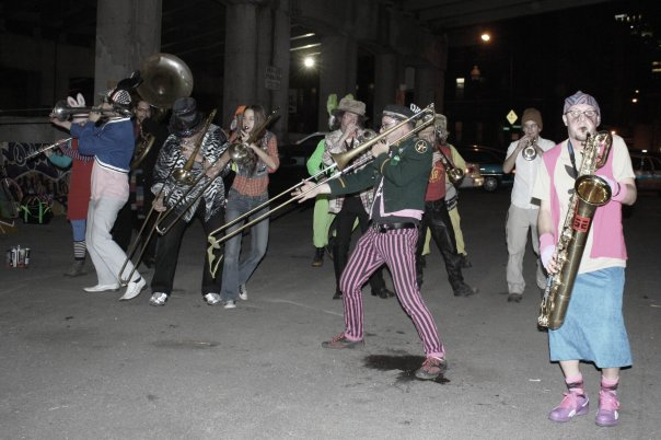 marching band under viaduct at Archeworks Chicago 2009