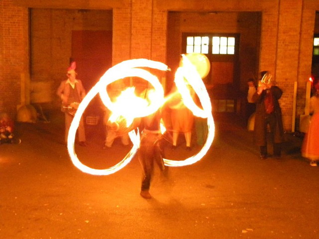 fire spinning at chicago decomp